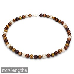 DaVonna Sterling Silver 7.5-8mm Multi Chocolate Freshwater Pearl Necklace (16-36 inches)