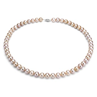 DaVonna Silver Pink FW Pearl 24-inch Necklace (7.5-8 mm)