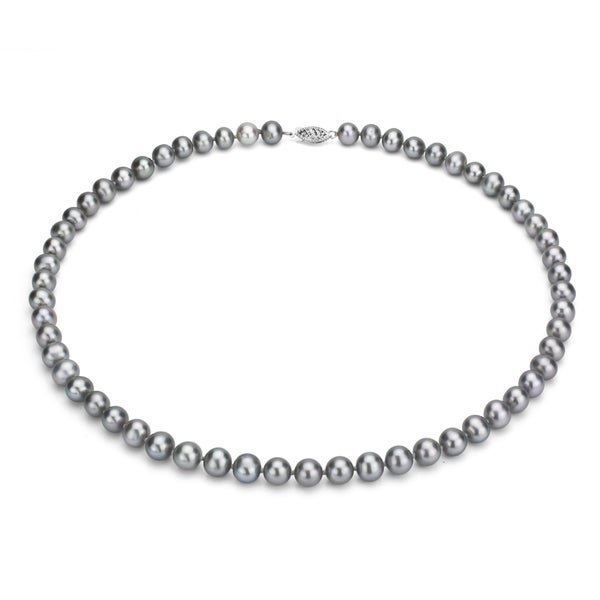 DaVonna Silver Grey FW Pearl 24-inch Necklace (7.5-8 mm)