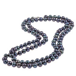 DaVonna Silver Black FW Pearl 36-inch Necklace (7.5-8 mm)