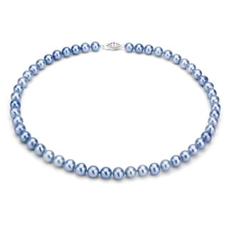 DaVonna Silver Blue FW Pearl 36-inch Necklace (7.5-8 mm)