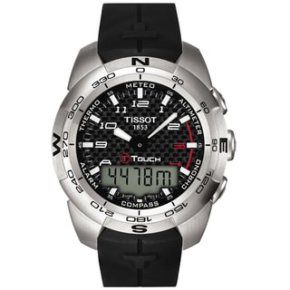 Tissot Men's T-Touch Expert Black Dial Rubber Strap Chronograph Watch