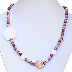 Silver FW Pearl/ Mother of Pearl/ Jasper Necklace (7 mm) (Thailand)