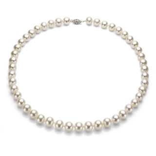 DaVonna Silver White FW Pearl 16-inch Necklace (7-7.5 mm)