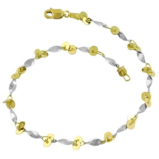 Fremada 14k Two-tone Gold Twisted Link Circles Anklet