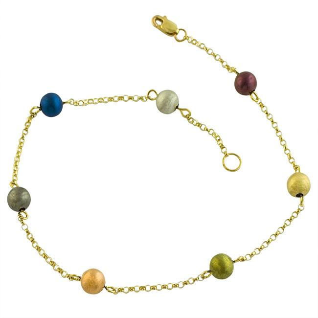 Fremada 14k Yellow Gold 'Colors of Gold' Bead Station Anklet