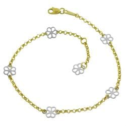 Fremada Two-tone 14k Gold Flower Station Adjustable Anklet