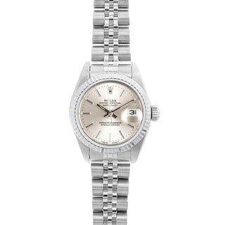 Pre-owned Rolex Women's Datejust White Gold Silver Dial Watch