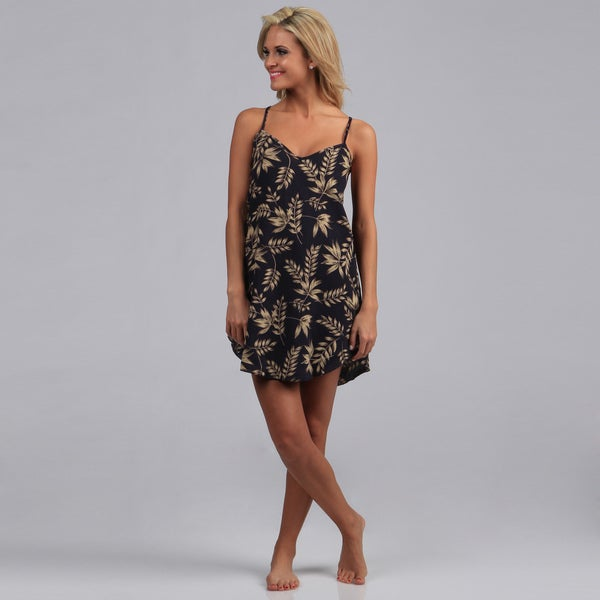 Illusions Women's Navy Floral Georgette Chemise and Thong Set