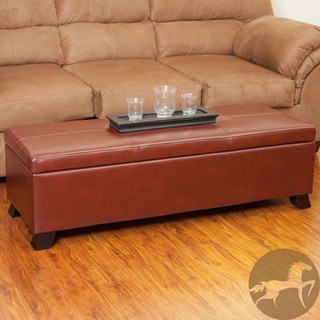 Christopher Knight Home Cambridge Saddle Brown Bonded Leather Storage Ottoman