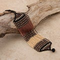 Glass Zulu String Brown/ Black/ Pink Bracelet (South Africa)