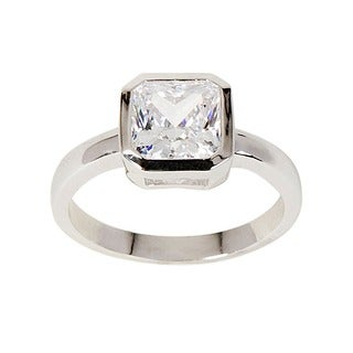 NEXTE Jewelry Silvertone Princess-cut Clear Cubic Zirconia Solitaire Ring