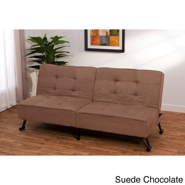 Vision click clack contemporary convertible futon sofa bed for Sofa bed 74 inches