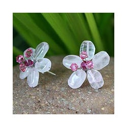 Stainless Steel 'Crystal Flower' Rose Quartz Button Earrings (Thailand)