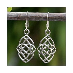 Sterling Silver 'Gordian Knot' Dangle Earrings (Thailand)