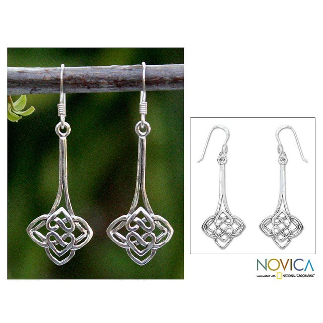 Sterling Silver 'Tiger Lily' Dangle Earrings (Thailand)
