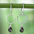 Sterling Silver 'Mystic Solo' Smoky Quartz Dangle Earrings (Thailand)