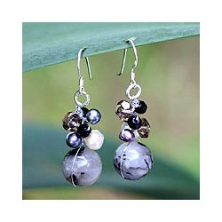 Pearl and Rutile Quartz Cluster 'Sophisticate' Earrings (4-6 mm) (Thailand)