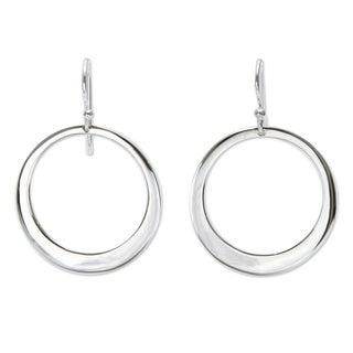 Sterling Silver 'Perfect Moon' Dangle Earrings (Peru)