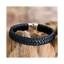 Sterling Silver and Leather Men's 'Courage' Bracelet (Indonesia)