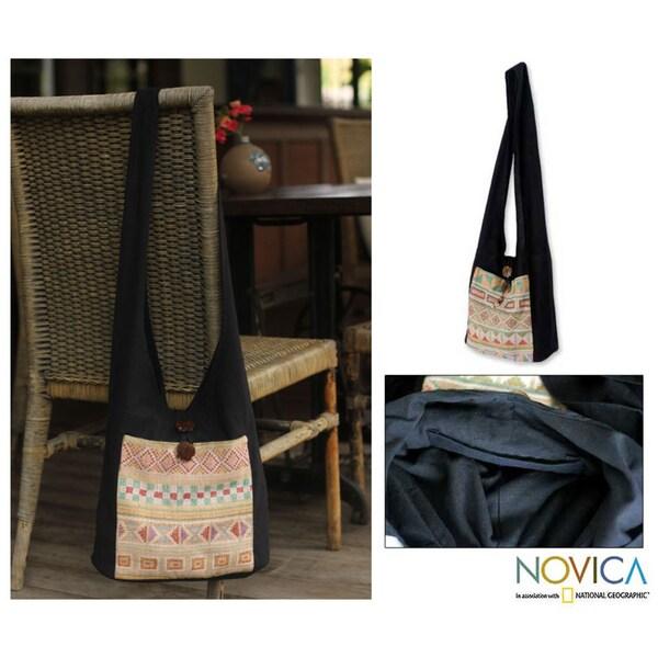 Cotton 'Happy Geometry' Shoulder Bag (Thailand)