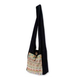 Cotton 'Happy Geometry' Shoulder Bag (Thailand)