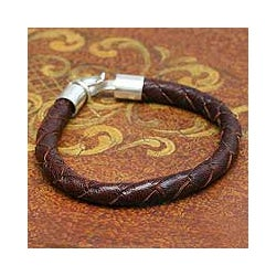 Leather and Silver Men's 'Earth Elements' Bracelet (Peru)