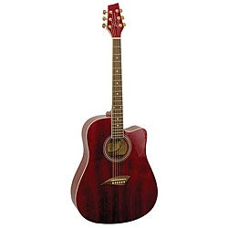 Kona Transparent Red Dreadnought Acoustic Guitar