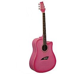 Kona Pink Burst Dreadnought Acoustic Guitar
