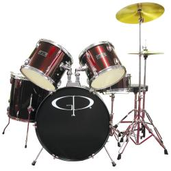 GP Percussion Wine Red Complete 5-piece Drumset