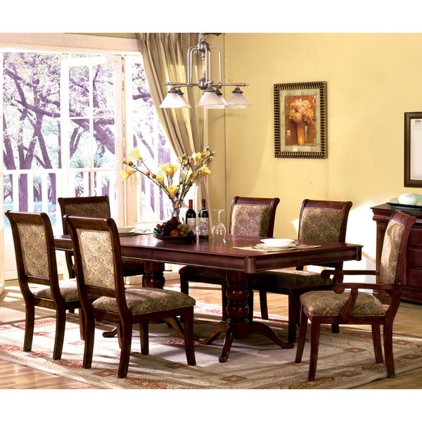Napa 9 Piece Dark Cherry Finish Formal Dining Room Table: Furniture Of America Ravena Oak 7-piece Cherry Dinette Set