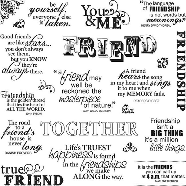 Fiskars Friends Forever 8x8 Quote Clear Stamps
