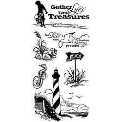 Inkadinkado 'Down by the Seaside' 4x8-inch Clear Stamp Sheet