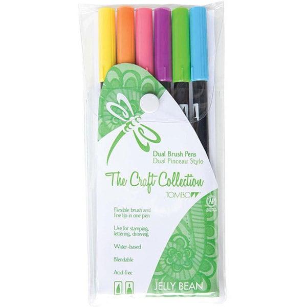 Tombow Jellybean Dual Brush Pen Set (Pack of 6)
