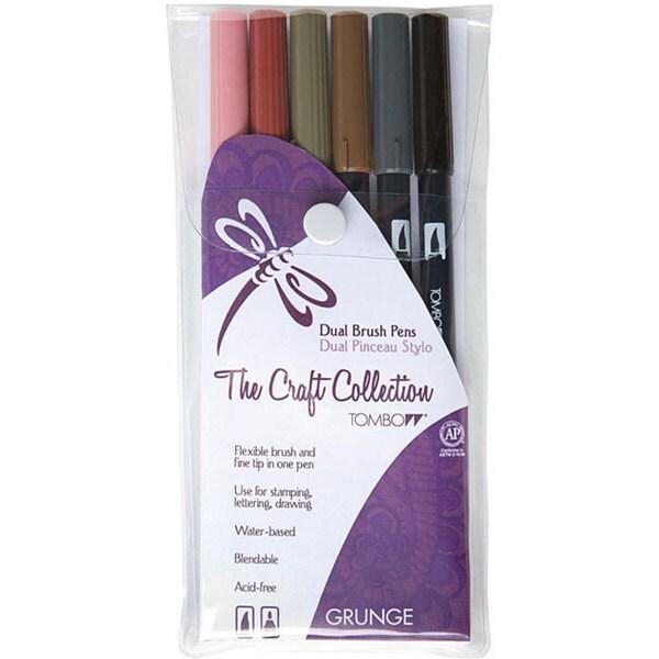 Tombow Grunge Dual Brush Pen Set (Pack of 6)