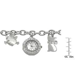 Geneva Platinum Women's Cat Charm Bracelet Watch