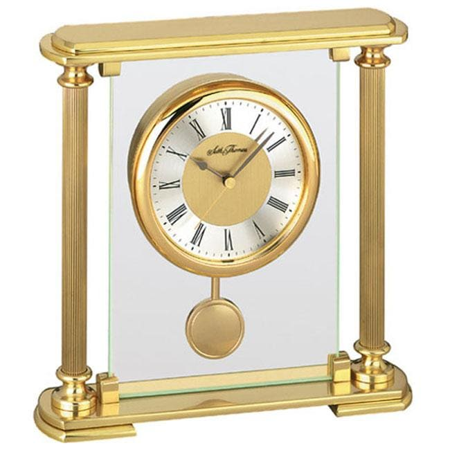 Seth thomas dynasty goldtone brass quartz pendulum mantel clock