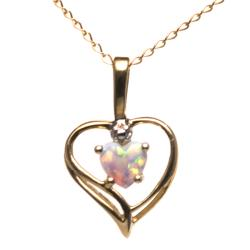 10k Yellow Gold Created Opal Heart Pendant