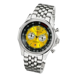 Stuhrling Original Men's Targa 24 Pro Chrono Watch with Yellow-and-Black Dial