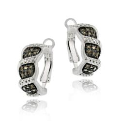 DB Designs Sterling Silver 3/5 CT Champagne Diamond S Design Earrings
