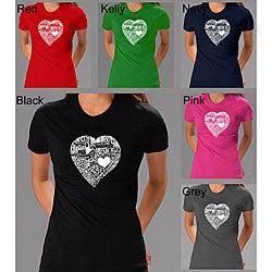 Los Angeles Pop Art Women's Heart T-shirt