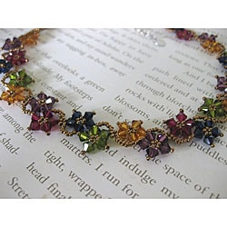 Stainless Steel Multi-colored Delicate Crystal Flower Necklace