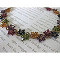 Stainless Steel Multi-colored Delicate Crystal Flower Necklace (USA)