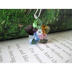 Sterling Silver Colorful Flower Crystal Necklace (USA)