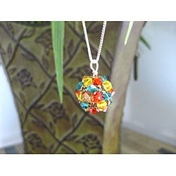 Sterling Silver Colorful Summery Crystal Ball Necklace (USA)