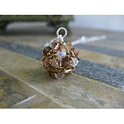 Sterling Silver Colorful Brown Crystal Ball Necklace (USA)