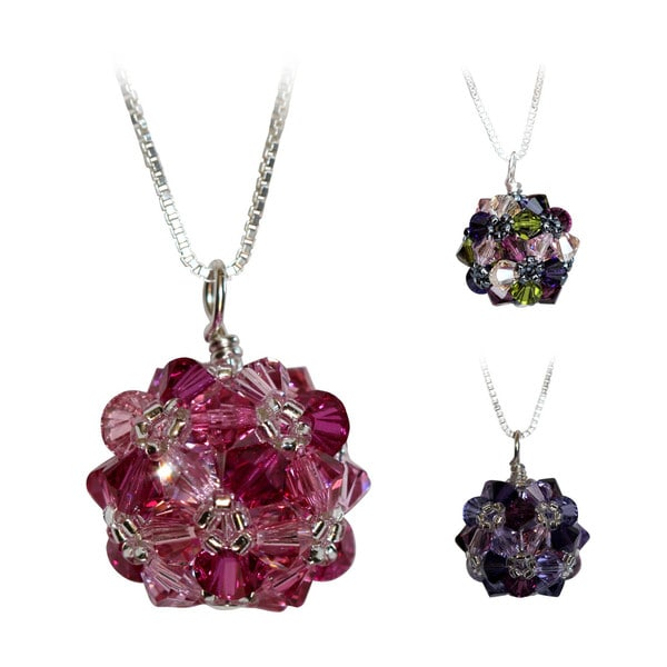 Sterling Silver Colorful Pink/Purple Crystal Ball Necklace (USA)