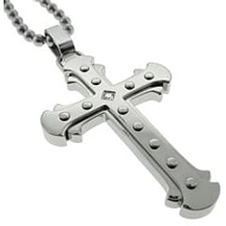 Black and Blue Jewelry Stainless Steel  Diamond Accent Cross Necklace