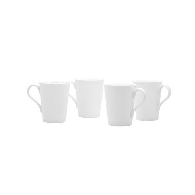Red Vanilla White Conical Mugs (Set of 4)