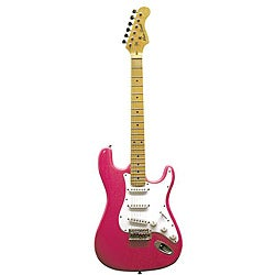 Main Street Double High-gloss Solid Body Cut-away Pink Electric Guitar